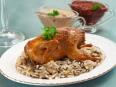 Перепела с рисом, белыми грибами и грибным соусом